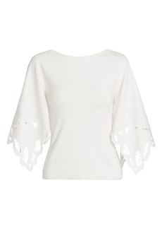 Oscar de la Renta Laser Cut Silk-Blend Knit Top