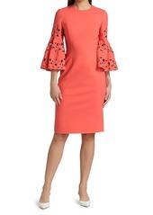 Oscar de la Renta Lasercut Bell-Sleeve Wool-Blend Shift Dress