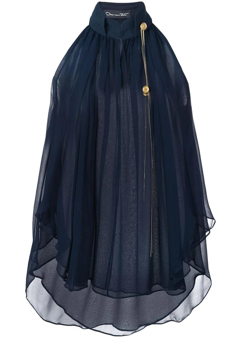Oscar de la Renta embroidered chiffon blouse