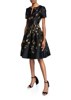 Oscar de la Renta Leaf-Embroidered Short-Sleeve V-Neck Dress