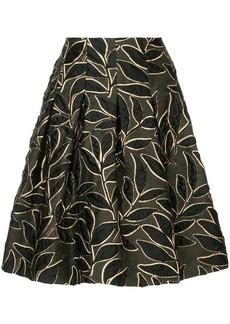 Oscar de la Renta leaf patterned skirt