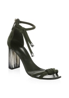 Oscar de la Renta Leather Ankle-Strap Sandals