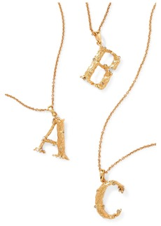 Oscar de la Renta Letter Gold-plated Crystal Necklace