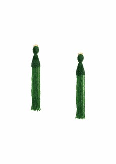 Oscar de la Renta Long Beaded Tassel Clip Earrings