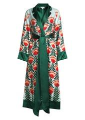 Oscar de la Renta Long Silk Robe