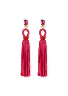 Oscar de la Renta Long Silk Tassel Drop Clip-On Earrings