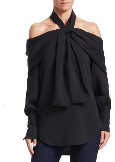 Oscar de la Renta Long-Sleeve Cold Shoulder Drape Blouse