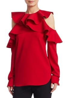 Oscar de la Renta Long Sleeve Cold-Shoulder Ruffle Top