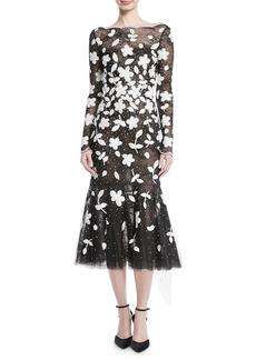 Oscar de la Renta Long-Sleeve Floral-Embroidered Sequined Tulle Lace Cocktail Dress
