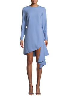 Oscar de la Renta Long-Sleeve Jewel Neck Cascading-Hem Dress