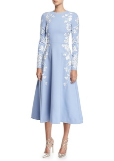 Oscar de la Renta Long-Sleeve Jewel-Neck Floral-Embroidered Midi Daytime Dress