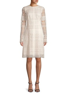Oscar de la Renta Long-Sleeve Lace Sheath Dress