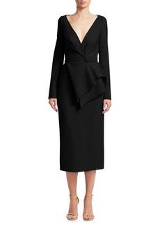 Oscar de la Renta Long Sleeve Peplum Midi Dress