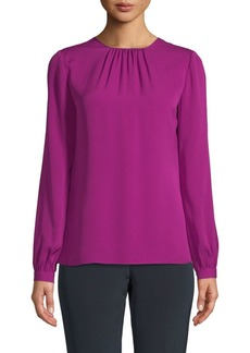 Oscar de la Renta Long-Sleeve Silk Blouse