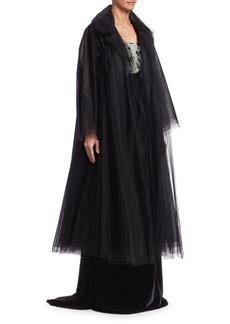 Oscar de la Renta Long-Sleeve Tulle Coat