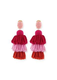 Oscar de la Renta Long Tiered Silk Tassel Clip-On Earrings