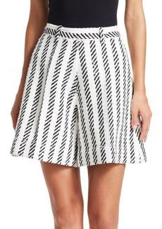 Oscar de la Renta Matching Stripe Skirt Shorts