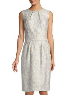 Oscar de la Renta Metallic 2-Pocket Cocktail Dress