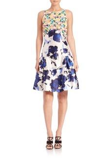 Oscar de la Renta Mixed-Media Floral Dropped-Waist Dress