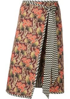 Oscar de la Renta mixed print wrap skirt