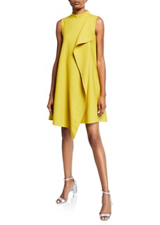 Oscar de la Renta Mock-Neck Draped-Front Dress