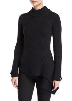 Oscar de la Renta Mock Neck Floral-Cuff Asymmetric Sweater