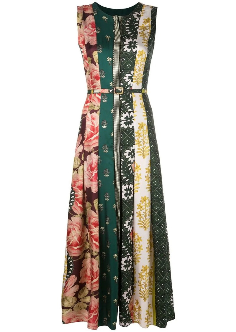 Oscar de la Renta multi-pattern satin dress