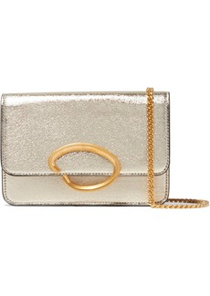 Oscar de la Renta O Chain Metallic Textured-leather Shoulder Bag