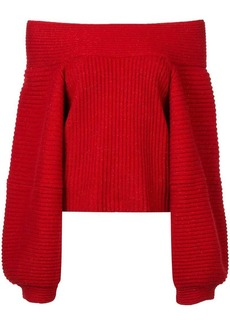 Oscar de la Renta off shoulder ribbed sweater