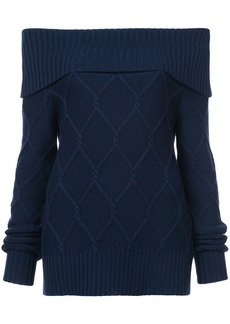 Oscar de la Renta off-the-shoulder cable knit sweater