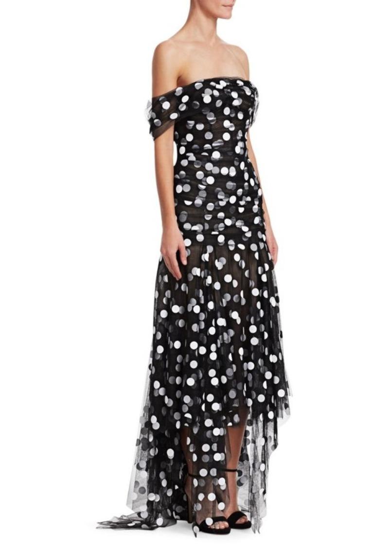 Oscar de la Renta Off-The-Shoulder Draped Polka Dot Gown