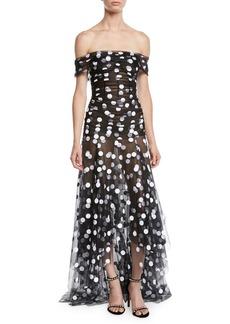 Oscar de la Renta Off-the-Shoulder Polka-Dot Tulle Evening Gown