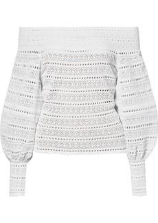 Oscar de la Renta Off-the-shoulder Stretch-crochet Top