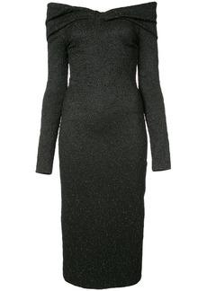 Oscar de la Renta off-the-shoulder textured midi dress