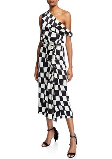 Oscar de la Renta One-Shoulder Checked Wave Dress