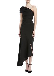 Oscar de la Renta One-Shoulder Crepe to Satin Asymmetric Cocktail Dress