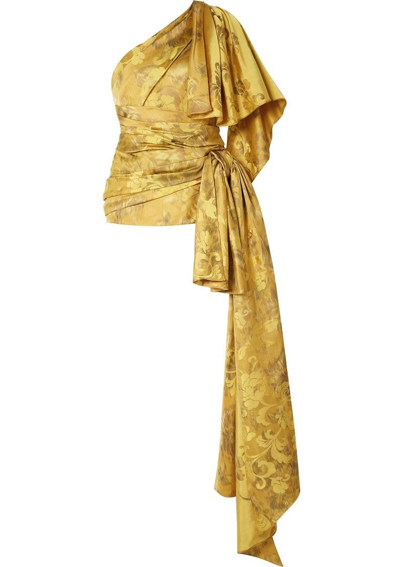 Oscar de la Renta One-shoulder Draped Ruched Silk-jacquard Top
