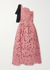 Oscar de la Renta One-shoulder Satin-trimmed Broderie Anglaise Taffeta Midi Dress