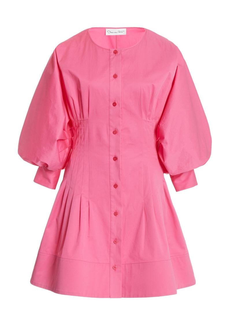 Oscar de la Renta - Women's Balloon Sleeve Cotton-Blend Mini Dress - Pink - Moda Operandi