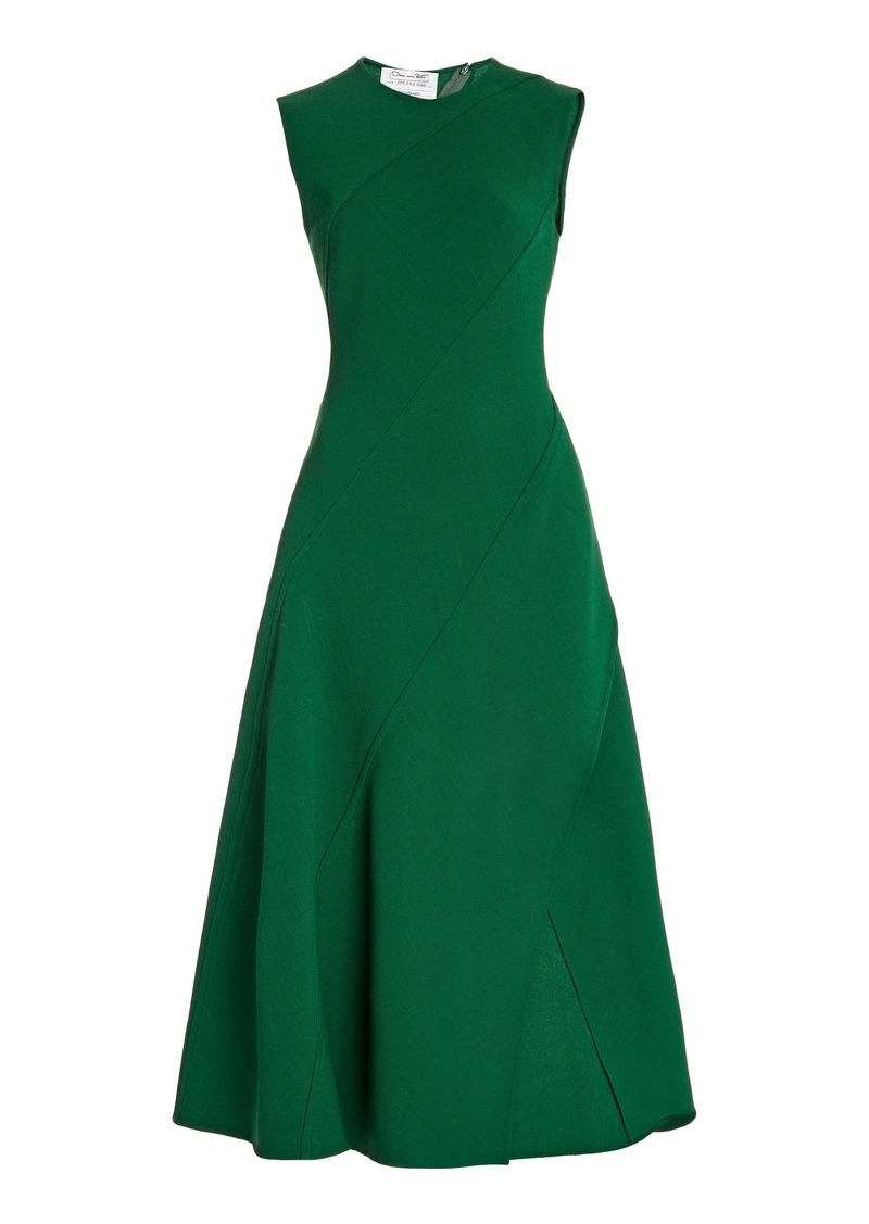 Oscar de la Renta - Women's Bias-Cut Wool-Blend Midi Dress - Green - Moda Operandi