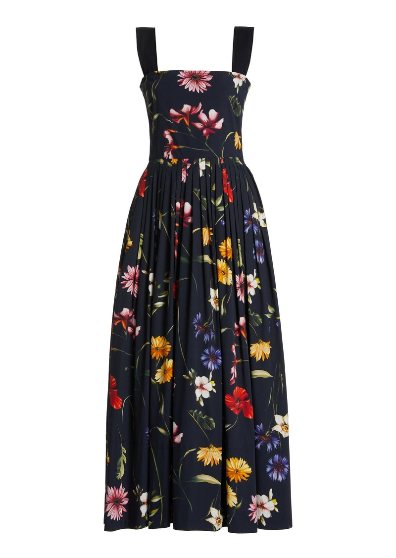 Oscar de la Renta - Women's Floral Cotton Midi Dress - Floral - Moda Operandi