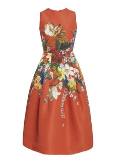 Oscar de la Renta - Women's Floral-Print Crepe Midi Dress - Floral - Moda Operandi