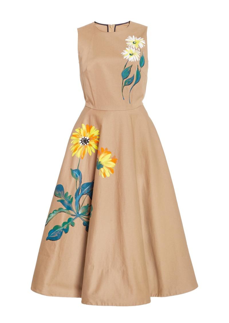 Oscar de la Renta - Women's Hand-Painted Floral Cotton Midi Dress - Neutral - Moda Operandi
