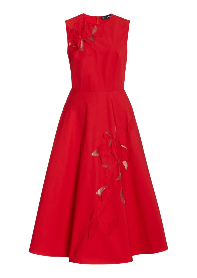Oscar de la Renta - Women's Laser-Cut Cotton Midi Dress - Red - Moda Operandi