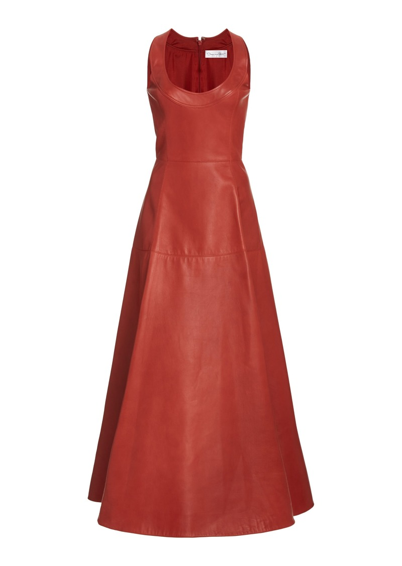 Oscar de la Renta - Women's Leather A-Line Midi Dress - Red - Moda Operandi