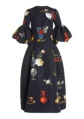 Oscar de la Renta - Women's Printed Ruffle Sleeve Midi Dress - Print - Moda Operandi