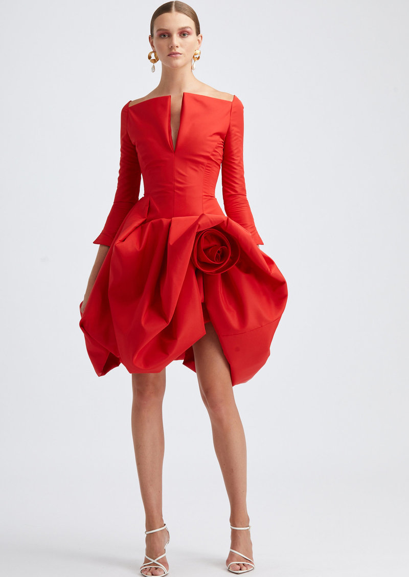 Oscar de la Renta - Women's V-Neckline Off-The-Shoulder Cocktail Dress - Red - Moda Operandi