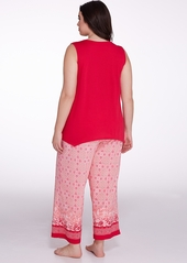 Oscar de la Renta + Border Print Knit Pajama Set Plus Size