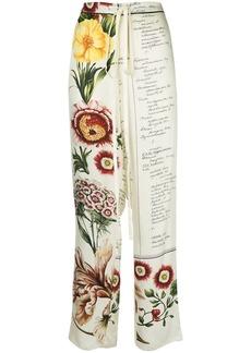 Oscar de la Renta floral calligraphy-print trousers