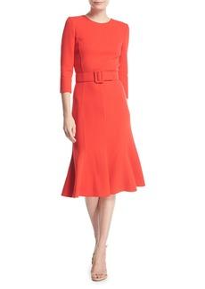 Oscar de la Renta 3/4-Sleeve Belted Flounce Dress